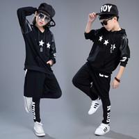ingrosso hip hop si adatta alle ragazze-New Boys Winter Hip-Hop Style 3Pcs Set di abbigliamento Ragazze che ballano Performance Costume in pelle per bambini con stelle, AC014