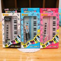 Wholesale old rulers - Kawaii Music Stationery Sets Kid's Piano Pencil Box Ruler Sharpener Eraser Pencil Sets School Students Gifts Bonus Musicial Box