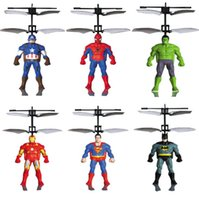 Wholesale iron infrared - Spiderman Iron Captain America RC Helicopter Infrared Induction Kids Action Figures Flying Quadcopter Drone Kids Toys OOA5016
