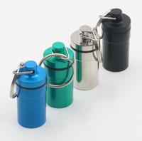 anahtarlık hap kutuları toptan satış-Alüminyum Su Geçirmez Hap Şekilli Kutu Şişe Tutucu Konteyner llaveros chaveiros Anahtarlık Anahtarlık Saklama çantası stash 4 renk büyük boy