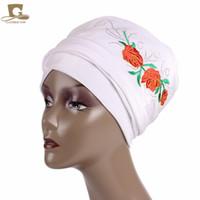 Wholesale flower hijab green - New fashion Luxury Velvet Nigerian Turban with rhinestoned rose flower Hijab Extra Long Tube Head Wrap Scarf Tie Ladies Turbante