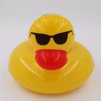 pato de banho inflável venda por atacado-1 pcs pato bebida inflável titular decoração piscina festa de praia crianças banho pato amarelo bóias assento