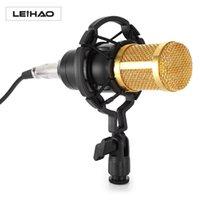 micrófono profesional canta al por mayor-Micrófono de grabación de sonido con condensador profesional original LEIHAO con montaje de choque para radio Braodcasting Singing Black KTV Hot + NB