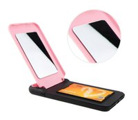 Wholesale card holder mirror for sale – best Wallet Case Lady Girl Makeup Mirror Floveme Hybrid Hard Card Holder Slim Leather Cover For iPhone X Plus s SE S Samsung