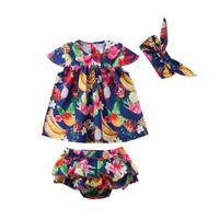 vestido de niñas mono corto al por mayor-3PCS Recién Nacido Infantil Bebé Niña Floral Romper Jumpsuit Dress + Tutu Triangle shorts Outfit Clothes