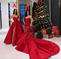 Wholesale sweetheart style evening dress - Modest Red Satin Two Style Mermaid Evening Dresses 2018 Sleeveless A Line Prom Dresses Long 2017 Side Split Zipper Back Formal Party Gowns
