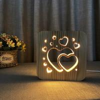 ingrosso luce notturna della lampada di cuore-Double Heart LED 3D Light Lampada da tavolo in legno Nightlight, USB Power Home Camera da letto Tavolo Desk Lampada decorazione Legno 3D Carving Pattern LED NightLight