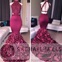 Wholesale Taffeta Ruffled Halter Evening Dresses - Burgundy Mermaid Sexy Prom Dresses 2018 New Halter Neck Backless Sweep Train Ruffles Satin Vintage Lace Formal Evening Wear Celebrity Gowns