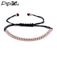 kupfer armband china großhandel-Trendy handgemachte Marke Männer Armband Makramee Schmuck 4mm Kupfer Perlen geflochten Strang gewebt Charme Armbänder Armreifen für Männer Frauen