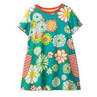 Wholesale Jersey Party Dresses - Girls Summer Casual Dresses Cotton Striped Cartoon Flowers Printed Jersey Playwear Dresses Cute Baby Clothing Party Dress