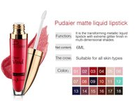 Wholesale glitter lip gloss - New Makeup Waterproof pudaier glitter Lip Gloss Matte Liquid Lipstick Women Cosmetics full of pure color color is strong