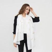 a5505ef7a3 Feuille Impression Femme Écharpe Haute Qualité Blanc Doux Long Écharpe  Élégant Nouveau Design Pour Femme Bufanda mujer