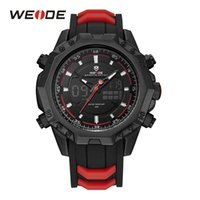 Wholesale Weide Wristwatches - WEIDE Mens Red Analog LCD Digital Back Light Alarm Silicone Strap Buckle Auto Date Day Quartz Movement Wristwatches For Sports