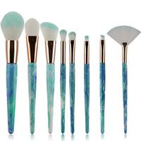 Wholesale Making Textures - 8 Pcs set Marble Texture Makeup Brushes Set professional Face Foundation Pro Contour Blusher Eyeshadow Lip Make Up Brush Set Kits