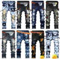 herren plus größe skinny jeans großhandel-Mens Ripped Jeans 2019 Fashion Luxury Designer Herrenbekleidung Jeans Para Hombre Röhrenhosen Plus Size pour femmes Jeans für Herren