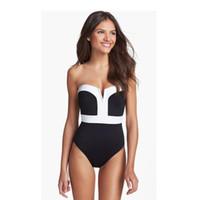 Wholesale womens vintage bathing suits - 2018 Vintage Girl Sexy Push Up Pinup Bikini Monokini Swimsuit Bathing Suit High Waist Bra Swimwear Womens Lady