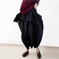 Wholesale capris skirt - Johnature 2018 New Women Wide Leg Loose Linen Cotton Asymmetric Pants Original Designer Plus Size Capris Elastc Waist Skirt