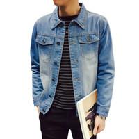 Wholesale chaqueta denim hombre - Solid Casual Slim Mens Denim Jacket Plus Size S-4XL 5XL Bomber Jacket Men High Quality Cowboy Men's Jean Jacket Chaqueta Hombre