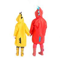 imperméable fille en polyester achat en gros de-Mignon Petit Dinosaure Étanche Polyester Manteau De Pluie Garçon Enfants Filles Coupe-Vent Poncho Maternelle Étudiant Bébé Imperméable