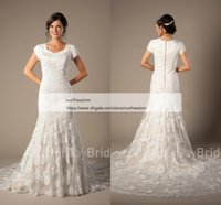 Wholesale outdoor short wedding dress - 2018 Modest Cheap Jewel Neck Wedding Dresses With Short Sleeve Mermaid Appliques Rustic Outdoor Style Bridal Gown Custom Made Sweep Train