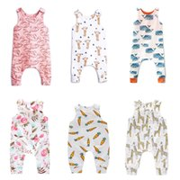 Wholesale raccoon animal - Baby Print Rompers Button Design Boys Girls Unicorn Raccoon Sushi Swan Carrot Balloon Giraffe Feather Fox Watermelon Infant Jumpsuit T