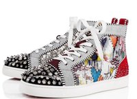 Wholesale stud men - 2018 wholesale New styles Red Bottom Sneakers Men Shoes Luxury Print Silver Pik Pik No Limit RARE studs and rhinestones graffiti