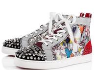 ingrosso borchie inferiori-2019 all'ingrosso Nuovi stili Red Bottom Sneakers Uomo Scarpe di lusso Stampa Argento Pik Pik No Limit RARE borchie e strass graffiti