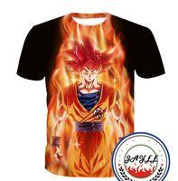 dragão mestre roshi venda por atacado-Camiseta 3D Anime Dragon Ball Z Goku Verão Moda Tee Tops Homens / Menino Mestre Roshi Imprimir Roupas T-shirt Dos Desenhos Animados