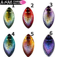 Wholesale Flatback Charms - 6 Jars set Multicolor Peacock Horse Eye Flatback Charmed Nail Charmed Rhinestones Acrylic Tips 3D Nail Art Decorations