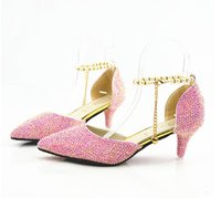 Wholesale foreign bride - Big code foreign trade pink pointy AB drill high heel bride crystal wedding shoes sandals diamond shoes
