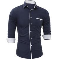 Wholesale Casual Dress Shops - Mens Plaid Shirt For Long Sleeve Fashion Business Casual For T Shirts Slim Mens Dress Shirts Drop Shopping
