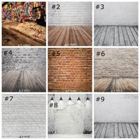 stützmauer großhandel-Vintage Brick Wall Foto Kulissen Holzboden hintergrund Fotografie Hintergrund studio prop studio prop tapete decor 85 * 125 cm
