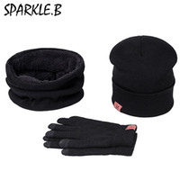 Wholesale Hat Scarf Glove Sets Women - Hot Sale Men Women Winter A Set Of Hats Scarves Gloves Cotton Knitted Hat Scarf Set For Male Female Winter 3 Pieces Hat Scarf