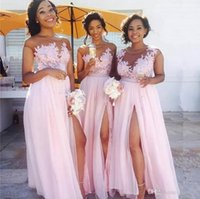 Wholesale Girls Lace Under Wear - 2018 Cheap Elegant Pink A Line Chiffon Long Bridesmaid Dresses Sheer Neck Short Sleeves Side Split Maid Of Honor Gowns Black Girls Wear