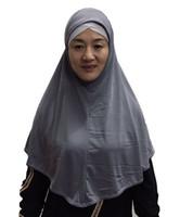 bufandas de color liso al por mayor-El último estilo de 70 cm de longitud liso musulmán hijab una pieza bufanda islámica puede elegir colores ML123