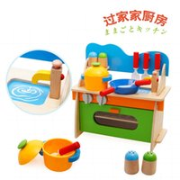 Wholesale wooden kitchen play set - Play House Kitchen And Cookware Wooden Toys Set Children Gift
