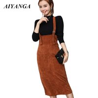 общий пуловер оптовых-Autumn Winter Women Skirts Sets 2018 Casual Corduroy Skirts Overall + Knitted Cropped Tops Pullovers Female Casual 2 Piece Set