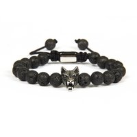 Wholesale wolf charms for bracelets - Top Quality Mens Jewelry Wholesale 10pcs lot 8mm Lava Rock Stone With Antique Silver Stainless Steel Wolf Macrame Bracelet For Cool Men