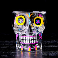 Wholesale saddle color online - Personality Print Color Skull Design Wine Glasses Transparent Creative ml Cups For Bar Club Party Drinking Decoration Tools xr Z