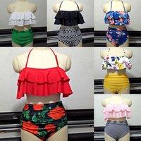 bikinis schick großhandel-Frauen Retro Boho Volant High Waist Bikini Set Chic Badeanzug 2 Stück Anzug Bademode Bikini gepolsterter BH WX9-647