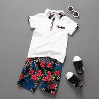 Wholesale new arrivals kids clothes set summer for sale - Group buy boy clothing sets Summer fashion new arrivals boys kids short sleeve trun down collar shirt flower shorts high quality sets