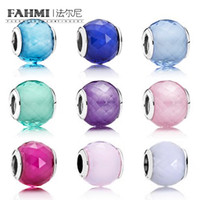 Wholesale cz crystal glass bead for sale - Group buy FAHMI Sterling Silver Charm Petite Facets Charm Purple CZ Murano Glass Bead New Sky Blue Crystal Murano Glass Bead