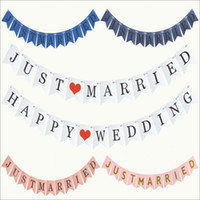 guirnalda del vintage al por mayor-Vintage JUST MARRIED Banner Wedding Party Decoraciones Bunting Garland Hecho a mano Photo Booth Props Event Party Supplies