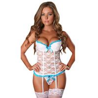 mais tamanho lingerie liga venda por atacado-2017 conjuntos de Lingerie Sexy Espartilho Com Garter Belt Arcos Bonitos Preto / Branco / Vermelho Sexy Erótico Lace Bustier Plus Size Lingerie M L XL XXL D18110801