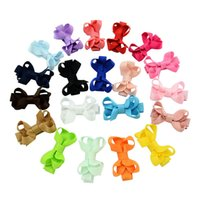 Wholesale Western Hair Bow - 20 Color 3*5 CM Baby Girls Candy Color Bow Hair Clips Cute Children Hairpins Western Hair Accessories