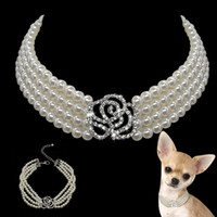 Wholesale white rhinestone dog collars resale online - 10pcs Pearl Dog Necklace Collar Fashion Jeweled Puppy Cat Collar With Bling Rhinestone Diamante Dog Pet Accessories Supplies