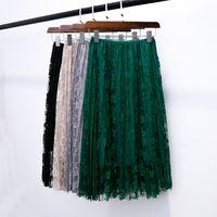 Wholesale long skirts tall - 2018 women skirts bud silk skirts long pleated skirt of tall waist show thin posed the a - line skirt autumn winter skirt
