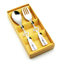 Wholesale heart spoon fork set for sale - Group buy New set Heart Shaped Love Coffee Spoons and fork in gift Box Party souvenirs Wedding Gifts for Guest
