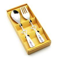 ingrosso set di forchetta a cucchiaio di cuore-Nuovo 2PCS / set a forma di cuore Love Coffee Cucchiai e forchetta in confezione regalo Regali di nozze per gli ospiti