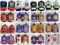 logotipos de estrela azul venda por atacado-99 Wayne Gretzky Jersey Homens Costurado Logotipo 1984 All Star New York Rangers LA Reis St. Louis Blues Hóquei Gretzky Do Vintage Jerseys